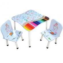 Masuta cu 2 scaunele, MDF+metal/desene
