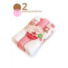 BoboBaby set 3 scutece textile 80x80 cm - bufnite roz