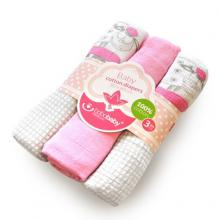 BoboBaby set 3 scutece textile 80x80 cm - oite roz
